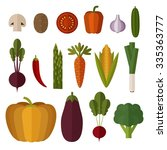 set of vegetables made in flat... | Shutterstock .eps vector #335363777