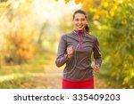 female fitness model training...   Shutterstock . vector #335409203