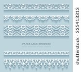 vector set of white lace... | Shutterstock .eps vector #335413313
