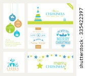 flat  modern christmas and... | Shutterstock .eps vector #335422397