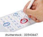 hand writing important date on... | Shutterstock . vector #33543667