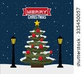 happy merry christmas design ... | Shutterstock .eps vector #335450057