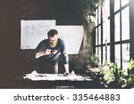 man working determine workspace ... | Shutterstock . vector #335464883