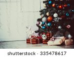 living room with christmas tree | Shutterstock . vector #335478617