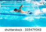 young man swimming freestyle in ... | Shutterstock . vector #335479343