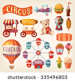 set of fun fair and traveling... | Shutterstock .eps vector #335496803