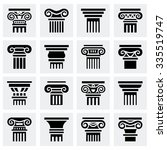 Vector Column Icon Set On Grey...