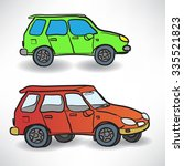 illustration of a two cars on... | Shutterstock . vector #335521823