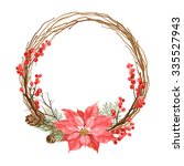 Christmas Wreath With Flower...