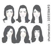 set of female hairstyles for... | Shutterstock .eps vector #335558693