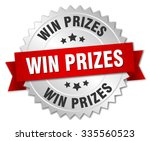 win prizes 3d silver badge with ... | Shutterstock .eps vector #335560523