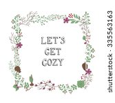 hand drawn flowers wreath. cute ... | Shutterstock .eps vector #335563163