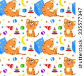 seamless pattern with sleeping... | Shutterstock .eps vector #335577347