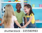 happy kids holding hands... | Shutterstock . vector #335580983