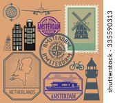 stamps set with words... | Shutterstock .eps vector #335590313