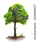 watercolor hand painted tree on ... | Shutterstock . vector #335606927