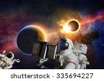 astronaut taking selfie photo... | Shutterstock . vector #335694227