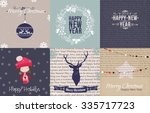set of vintage christmas and... | Shutterstock .eps vector #335717723