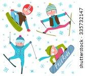 Skier Snowboarder Winter Sport...
