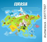 cute cartoon eurasia continent... | Shutterstock .eps vector #335777507
