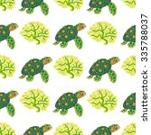 seamless pattern with tropical  ... | Shutterstock .eps vector #335788037