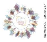 autumnal round frame. wreath of ... | Shutterstock .eps vector #335801957