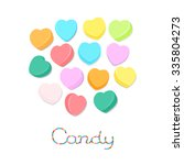 rainbow colored candy hearts... | Shutterstock .eps vector #335804273