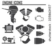 engine icons set vector...