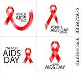 collection of poster world aids ... | Shutterstock .eps vector #335872673