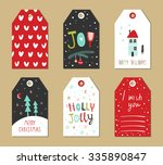 christmas gift tags set. vector ... | Shutterstock .eps vector #335890847