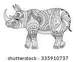 drawing zentangle rhino for... | Shutterstock .eps vector #335910737