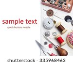 spools threads buttons needle... | Shutterstock . vector #335968463