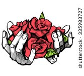 a bouquet of roses in hand ... | Shutterstock .eps vector #335983727