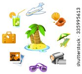 travel and vacation resort icons | Shutterstock .eps vector #335995613