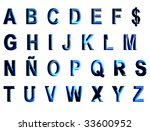 blue alphabet over white... | Shutterstock . vector #33600952