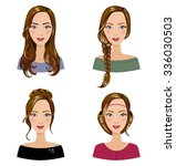 different types of female hair... | Shutterstock .eps vector #336030503