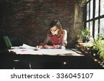 architecture woman working blue ... | Shutterstock . vector #336045107