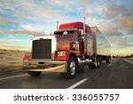 18 wheel truck on the road... | Shutterstock . vector #336055757