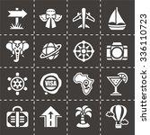 vector travel icon set on black ... | Shutterstock .eps vector #336110723