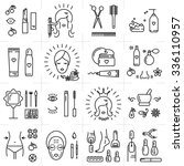 Modern icons set of cosmetics, beauty, spa and symbols collection made in modern linear vector style. Perfect design element  for the cosmetics shop, a hairdressing salon, cosmetology center | Shutterstock vector #336110957