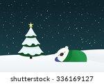 peaceful sleeping polar bear in ... | Shutterstock .eps vector #336169127