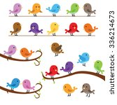 collection of cute little birds ... | Shutterstock .eps vector #336214673