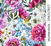 Watercolor Flower Pattern Of...