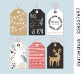 modern christmas gift tags with ...