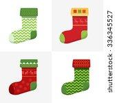 flat winter christmas socks set ... | Shutterstock .eps vector #336345527