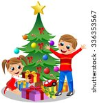 Happy kids opening Christmas gifts next to Christmas tree isolated
