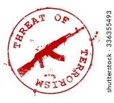 stamp with ak 47 and bloody... | Shutterstock .eps vector #336355493
