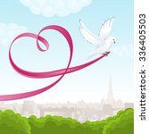 White Dove With Pink Ribbon In...