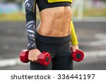fitness woman showing abs and... | Shutterstock . vector #336441197