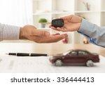 sales clerk handed the car keys ...   Shutterstock . vector #336444413